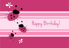 Cute ladybirg birthday card Royalty Free Stock Images