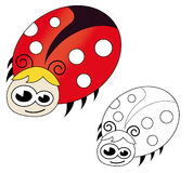Cute ladybug. Cartoon isolated on white. The black & white version is useful for coloring book pages for kids royalty free illustration
