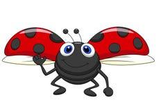 Cute ladybug cartoon flying Royalty Free Stock Photos
