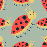 Cute ladybug cartoon red insect nature bug isolated beetle hand drawn vector illustration. Royalty Free Stock Image