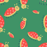Cute ladybug cartoon red insect nature bug isolated beetle hand drawn vector illustration. Royalty Free Stock Photography