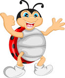 Cute ladybug cartoon thumb up Stock Photos