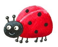 Cute Ladybug looking left. Acrylic illustration of cute ladybug looking left Royalty Free Stock Image