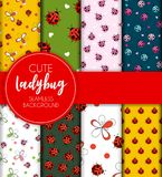 Cute Ladybug Seamless Pattern Background Vector Illustration Royalty Free Stock Photography