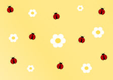 Cute ladybug yellow cartoon background Stock Images