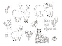 Cute Lama, Alpaca and cactuses set. Hand drawn vector illustration Stock Images