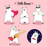 Cute lama, doodle vector illustration. Collection of cartoon characters, stickers, patches royalty free illustration