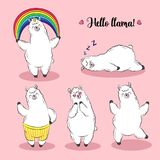 Cute lama, doodle vector illustration. Collection of cartoon characters, stickers, patches Stock Photos