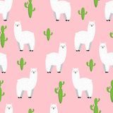 Cute lama, doodle vector illustration. Collection of cartoon characters, stickers, patches. Seamless background Stock Image