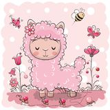 Cute Lama with flowers and butterflies. Cute Cartoon Lama with flowers and butterflies stock illustration