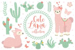 Cute lama set objects. Collection design elements with llama, cactus, lovely flowers. Isolated on white background Royalty Free Stock Photo