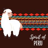 Cute lama and South America ornament concept poster.  Stock Photos