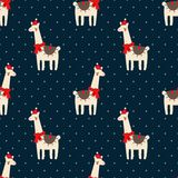 Cute lama with xmas hat seamless pattern on dark blue polka dots background. Stock Photography