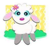 Cute Lamb with Flower Stock Photo