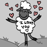 Cute lamb in love Royalty Free Stock Photos