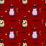 Cute lamb - symbol of the 2015 year with present. Chinese zodiac and calendar animal. Funny Christmas and New Year seamless pattern royalty free illustration