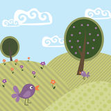 Cute landscape 2 trees and birds Royalty Free Stock Images