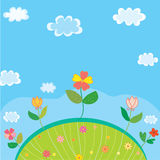 Cute landscape for kids with flowers Stock Photo