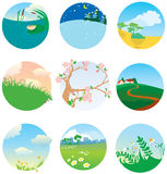 Cute landscapes. Collection of cute landscapes stock illustration