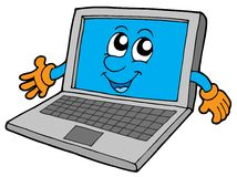 Cute laptop. On white background - vector illustration Royalty Free Stock Photography