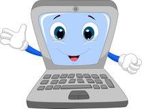 Cute laptop cartoon waving hand. Illustration of Cute laptop cartoon waving hand Royalty Free Stock Images