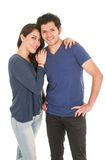 Cute latin couple dressed in blue Royalty Free Stock Photography