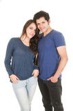 Cute latin couple dressed in blue Stock Photo
