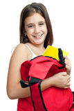 Cute latin girl carrying her school backpack Royalty Free Stock Images