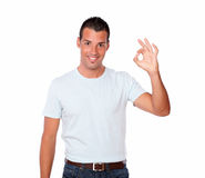 Cute latin male with ok gesture Stock Images