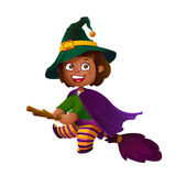 Cute Latina Girl Witch on the Broom. Happy Halloween. Trick or Treat, Cartoon Illustration. Stock Photos