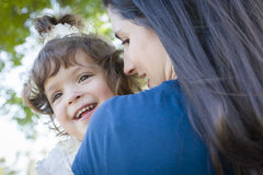 Cute Laughing Baby Girl and Mother in Park Royalty Free Stock Photography