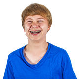 Cute laughing happy boy isolated on white Stock Image