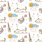 Cute lazy cat with cake seamless background stock illustration