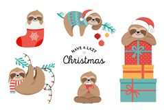Cute sloths, funny Christmas illustrations with Santa Claus costumes, hat and scarfs, greeting cards set, banner Vector Illustration
