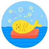 Yellow seal lying on red mattress at sea. Vector color cartoon illustration. vector illustration