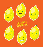 Cute lemon with different emotions Royalty Free Stock Photos