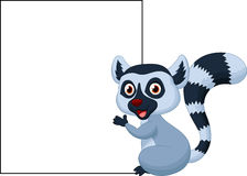 Cute lemur holding blank sign. Illustration of Cute lemur holding blank sign Stock Photo