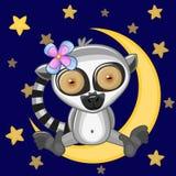 Cute Lemur on the moon Royalty Free Stock Photos