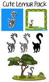A cute lemur pack. Illustration royalty free illustration