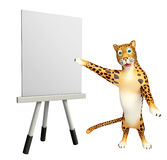 Cute Leopard cartoon character with easel board. 3d rendered illustration of Leopard cartoon character with easel board Royalty Free Stock Photography