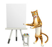 Cute Leopard cartoon character with easel board. 3d rendered illustration of Leopard cartoon character with easel board Stock Photography