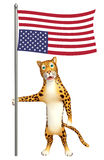 Cute Leopard cartoon character with flag. 3d rendered illustration of Leopard cartoon character with flag Stock Photo