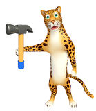 Cute Leopard cartoon character  with hammer Stock Photo