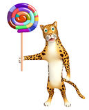 Cute Leopard cartoon character with lollypop Stock Photos