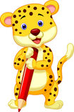 Cute leopard cartoon holding red pencil Stock Photo