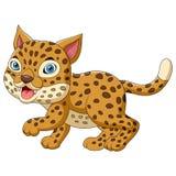 Cute leopard cartoon stock illustration