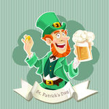 Cute Leprechaun with a beer - Poster Stock Photography