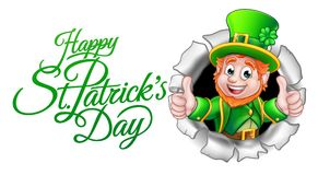 Cartoon Leprechaun Happy St Patricks Day. A cute Leprechaun cartoon character breaking through the background with Happy St Patricks Day message royalty free illustration