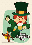 Cute Leprechaun Jumping and Drinking a Cold Beer, Vector Illustration Royalty Free Stock Images
