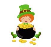 Cute leprechaun with treasure gold pot. Stock Image